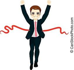 biznesmen, pojęcie, zwycięzca, powodzenie
