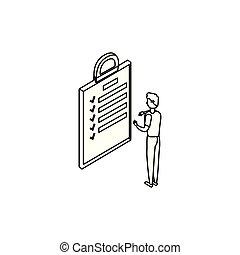 biznesmen, pracownik, checklist