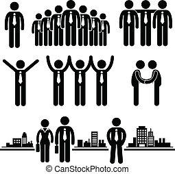 biznesmen, pracownik, handlowy, grupa