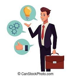 biznesmen, prezentacja, rozmowa