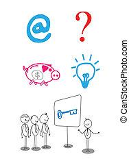 biznesmen, prezentacja, zbiór