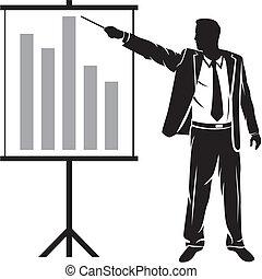 biznesmen, prezentacja, zrobienie