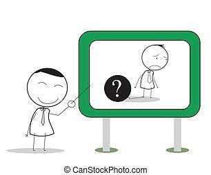 biznesmen, problem, prezentacja