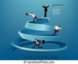 biznesmen, progressing, ilustracja
