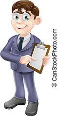 biznesmen, przegląd, albo, dzierżawa, clipb