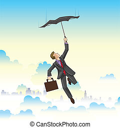 biznesmen, przelotny, parasol
