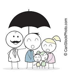 biznesmen, rodzina, ubezpieczenie