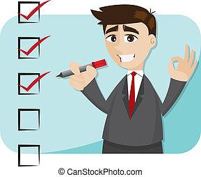 biznesmen, rysunek, checklist