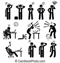 biznesmen, siła, biuro, ciśnienie