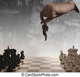 biznesmen, szachy