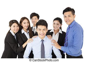 biznesmen, szczęśliwy, handlowy zaprzęg, młody