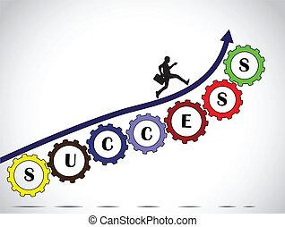 biznesmen, teamwork, powodzenie, strzała
