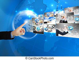 biznesmen, .technology, świat, tłoczyć, pojęcie