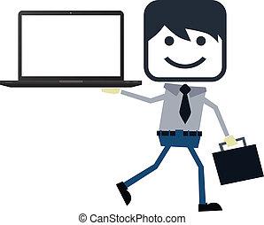 biznesmen, temat, prezentacja