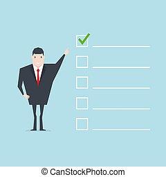 biznesmen, ważny, checklist.