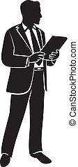 biznesmen, wektor, ilustracja