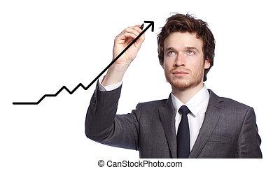 biznesmen, wykres, rysunek, -growth
