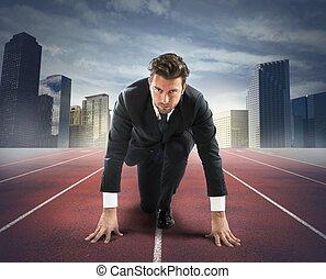 biznesmen, wyzwanie, nowy