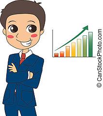 biznesmen, wzrost, powodzenie