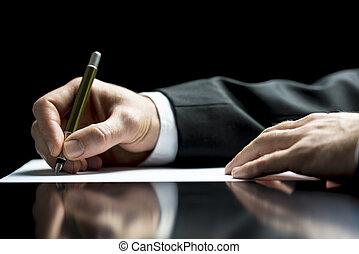biznesmen, znacząc, albo, litera pisanie