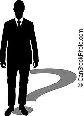 biznesmen, znak zapytania