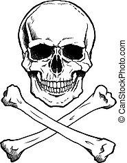 black/white, ludzka czaszka, crossbones