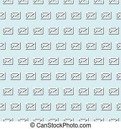 blady, papier, cięty, poczta, pattern., retro, biała koperta, błękitny, turkus, seamless, ikona, tło, styl