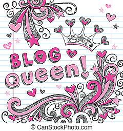 blog, doodles, sketchy, królowa, tiara
