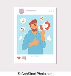 blogger, online, influencer, pojęcie, poczta, rysunek, towarzyski, media, człowiek