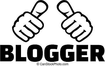 blogger, słowo, kciuki