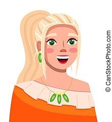 blogger, transmisja, video, streamer., makijaż, uśmiechanie się, młody, włosy, modny, blond, dziewczyna, albo, online