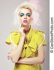 blond, deco., sztuka, demonstracyjny, makeup., przepych, żywy, kobieta, włosy