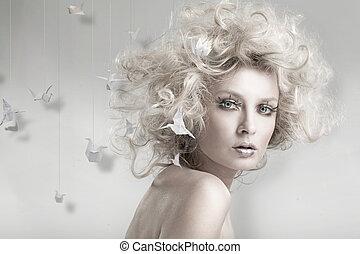 blond, origam, pociągający, piękno