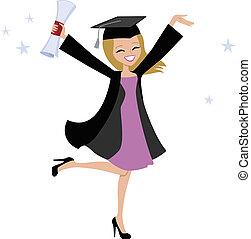 blondynka, kobieta, ilustracja, absolwent