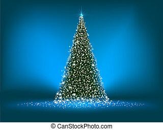 blue., abstrakcyjny, drzewo, eps, zielony, 8, boże narodzenie