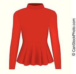 bluzka, długa szyja, czerwony, kobiety