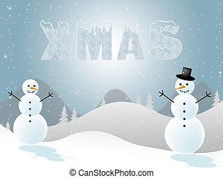 boże narodzenie, śnieg, ilustracja, scena, widać, snowmen, boże narodzenie, 3d