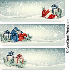 boże narodzenie, chorągwie, zima, vector., prezenty.