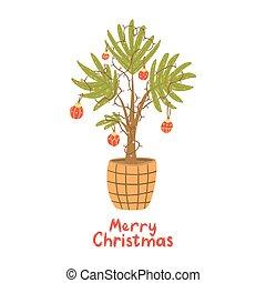 boże narodzenie, garland., drzewo., alternatywa, piłki, dłoń, lampa