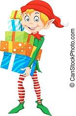 boże narodzenie, ilustracja, elf