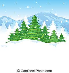 boże narodzenie, krajobraz, zima
