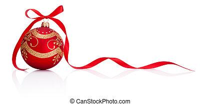 boże narodzenie, odizolowany, łuk, ozdoba, wstążka, tło, biały, bauble, czerwony