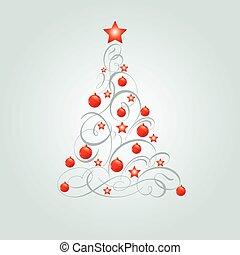 boże narodzenie, ozdobny, drzewo