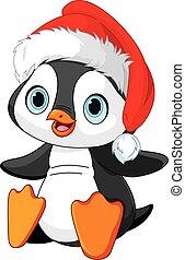 boże narodzenie, pingwin