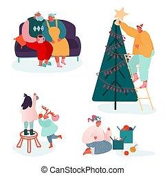 boże narodzenie, rodzina, wesoły, kominek, komplet, rodzice, year., ludzie, litery, świętując, xmas daruje, pora, dekorowanie, kolędy, śpiewać, scene., dzieci, ilustracja, nowy, wektor, zima, uszczelka, drzewo