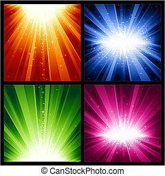 boże narodzenie, wybuchy, świąteczny, gwiazdy, lekki, lata, nowy