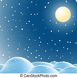 boże narodzenie, zima krajobraz, noc
