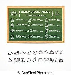 board., menu, wektor, restauracja