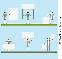 boards., pokaz, deska, czysty, biznesmen, opróżniać