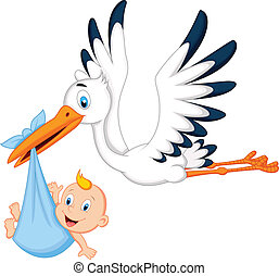 bocian, niemowlę, transport, rysunek